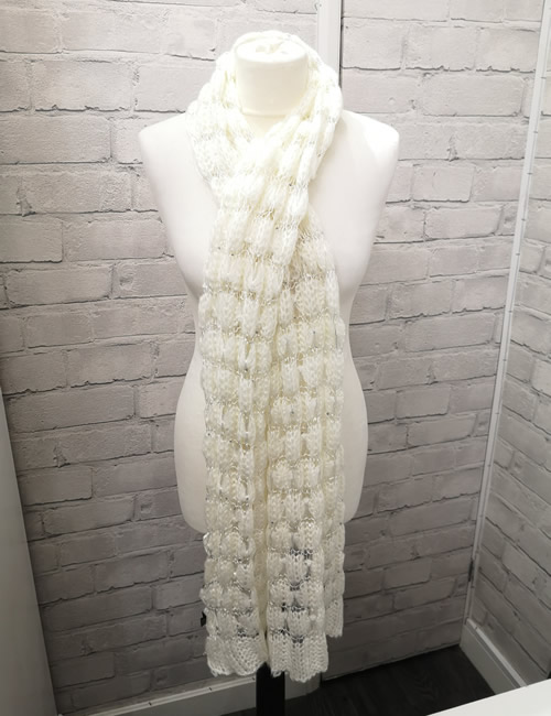Butterfly - Knitted Wrap Closeup - White