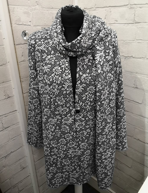 Albert & Son - Floral Long Jacket - Front Scarf Wrapped Around