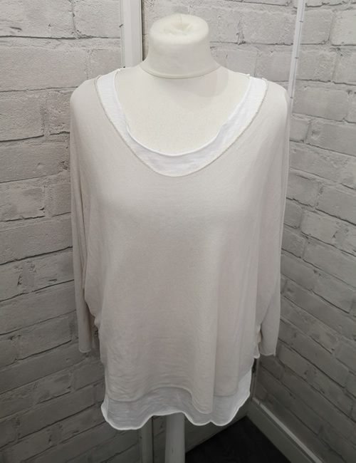 Made In Italy - Layered Top - Cream - Front