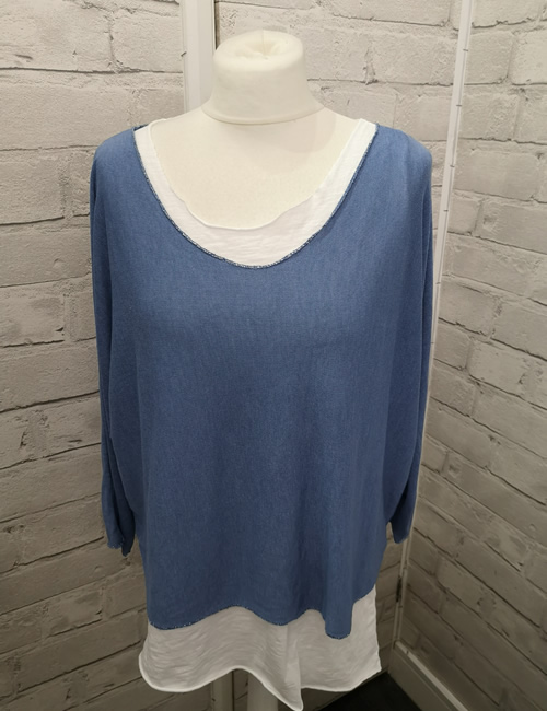 Made In Italy - Layered Top - Denim Blue - Front