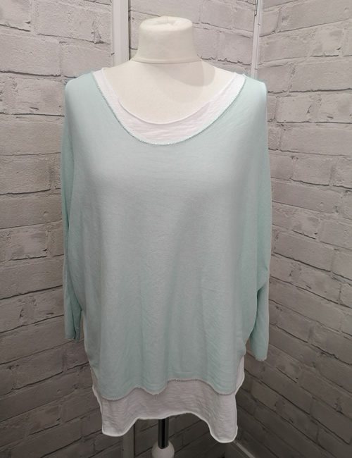 Made In Italy - Layered Top - Mint - Front