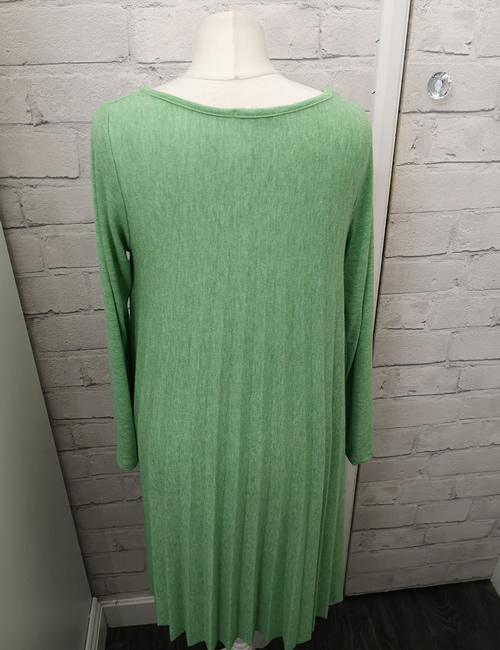 Made In Italy - Pleated Dress - Green - Back