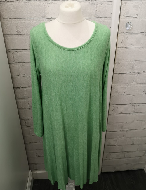 Made In Italy - Pleated Dress - Green - Front