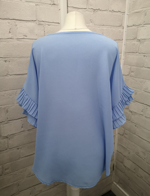 Moda - Ruffle Sleeve Top - Light Blue - Back