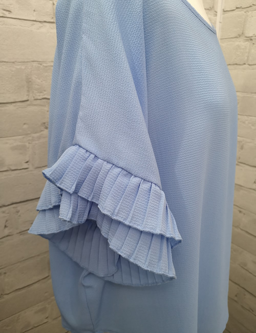 Moda - Ruffle Sleeve Top - Light Blue - Detail