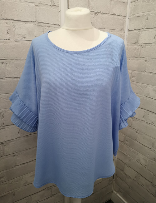 Moda - Ruffle Sleeve Top - Light Blue - Front