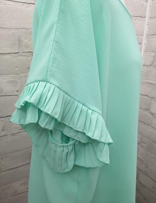 Moda - Ruffle Sleeve Top - Mint - Detail