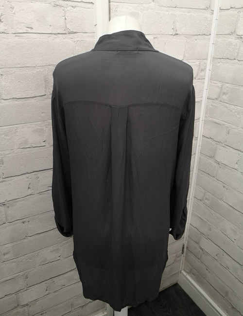 My Story - Faux Silk Shirt - Charcoal - Back