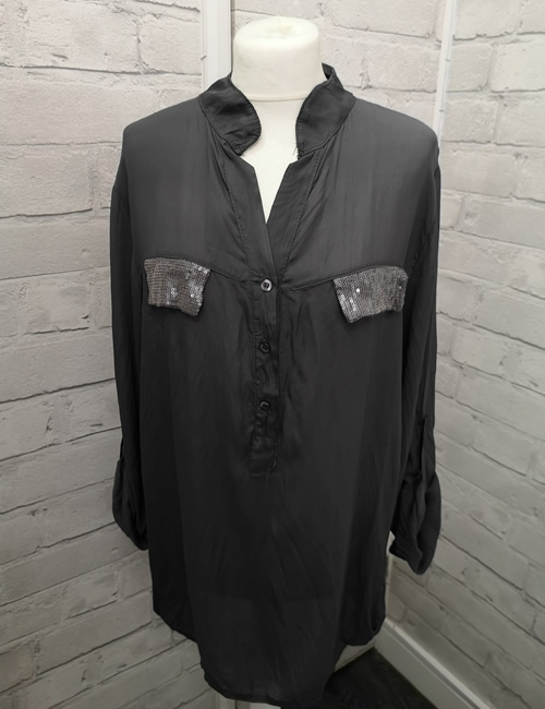 My Story - Faux Silk Shirt - Charcoal - Front