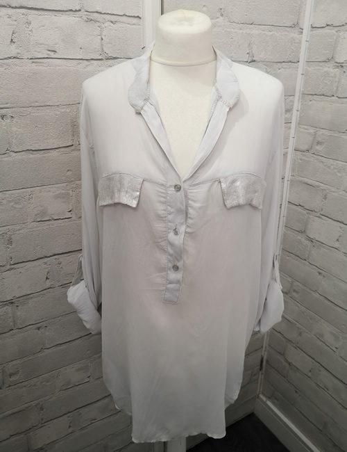 My Story - Faux Silk Shirt - Light Grey