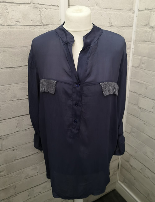 My Story - Faux Silk Shirt - Light Navy Blue