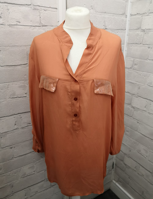 My Story - Faux Silk Shirt - Light Orange
