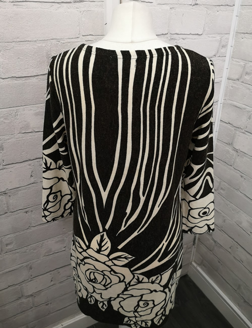 Solo - Rose Dress - Black & Cream - Back
