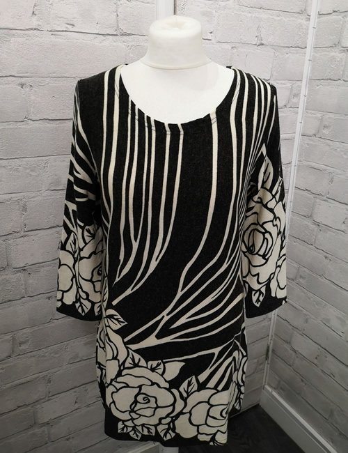 Solo - Rose Dress - Black & Cream - Front