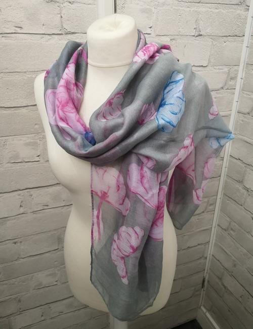 Toskatok Scarf - Grey & Pink Floral