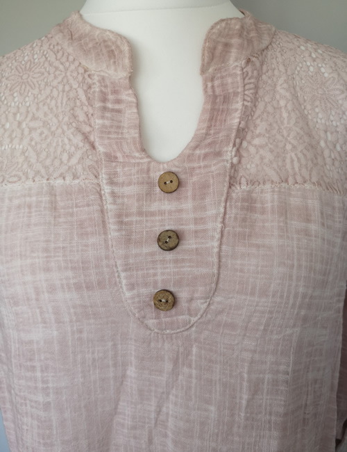 Made In Italy - Cotton & Lace Top - Dusky Pink - Closeup