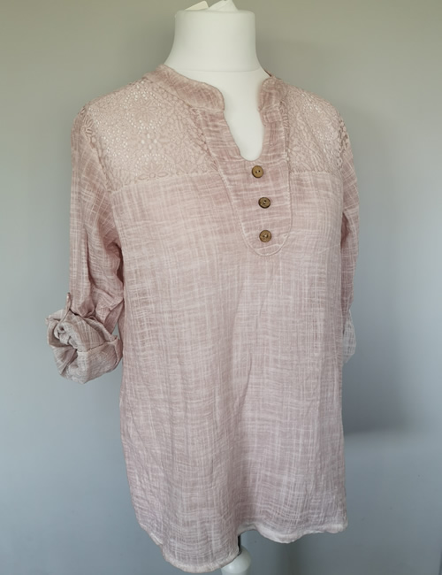 Made In Italy - Cotton & Lace Top - Dusky Pink