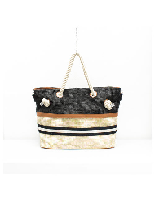 Moda - Rope Handles Tote Beach Bag - Black - Front