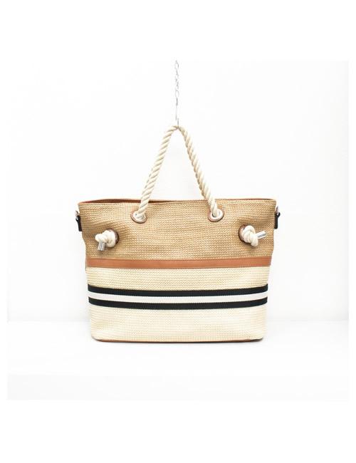 Moda - Rope Handles Tote Beach Bag - Brown - Front
