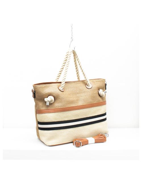Moda - Rope Handles Tote Beach Bag - Brown - Side
