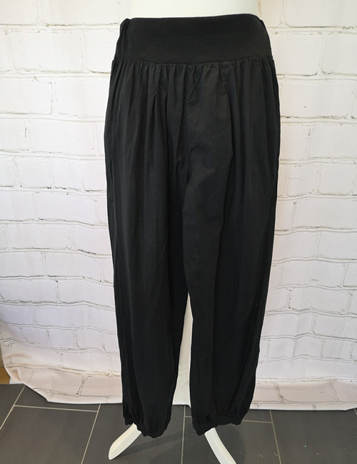 Nova - Button Pocket Harem Pants - Black - Back