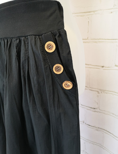 Nova - Button Pocket Harem Pants - Black - Detail