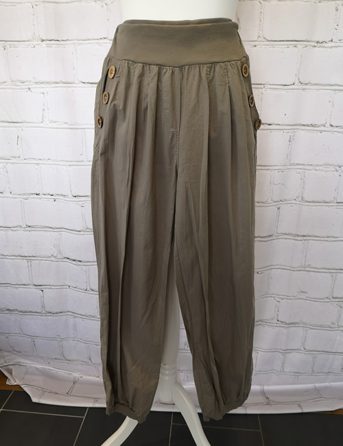 Nova - Button Pocket Harem Pants - Mocha