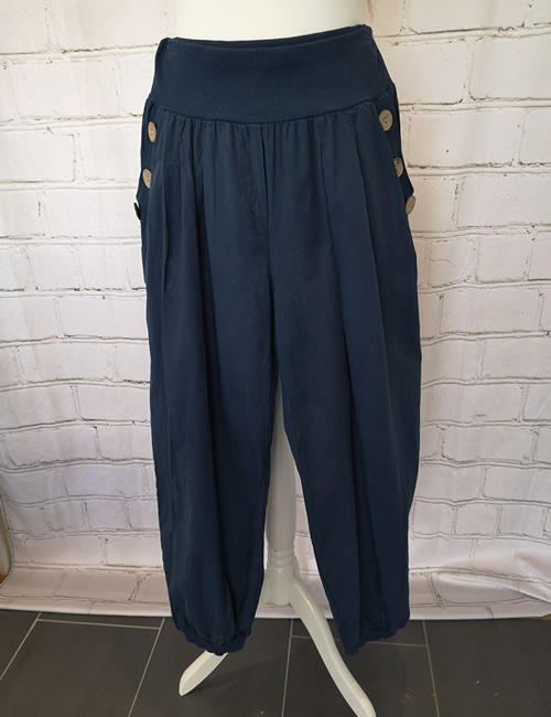 Nova - Button Pocket Harem Pants - Navy Blue