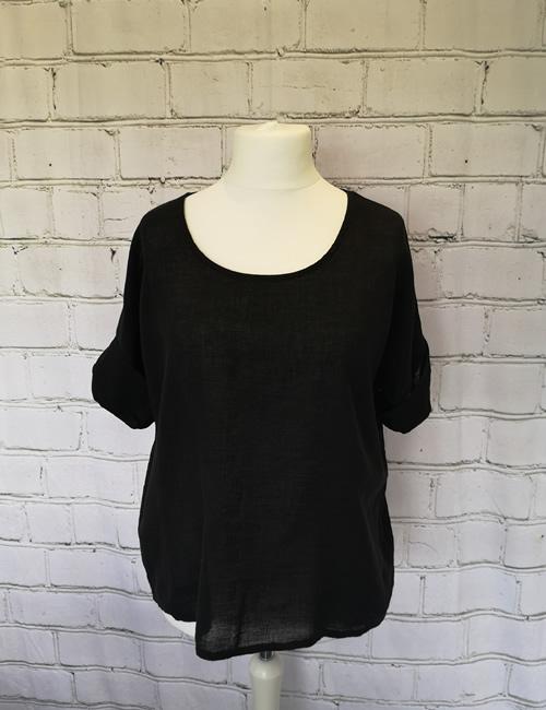 Colette - Linen Top - Black