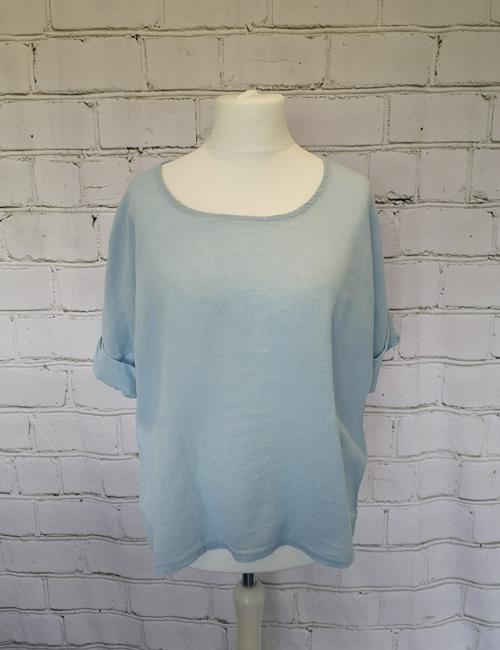 Colette - Linen Top - Light Blue