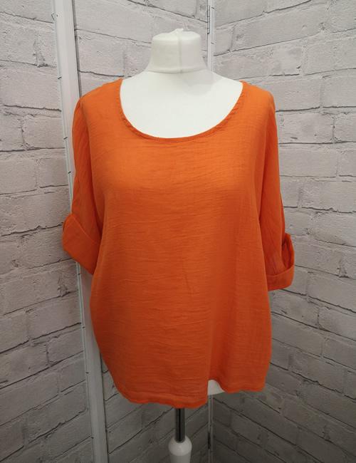Colette - Linen Top - Orange