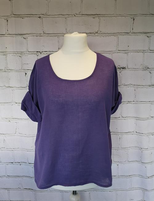 Colette - Linen Top - Purple