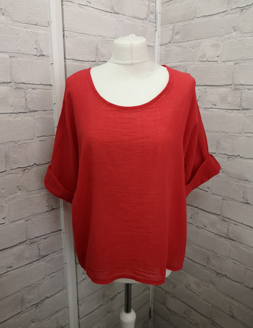 Colette - Linen Top - Red