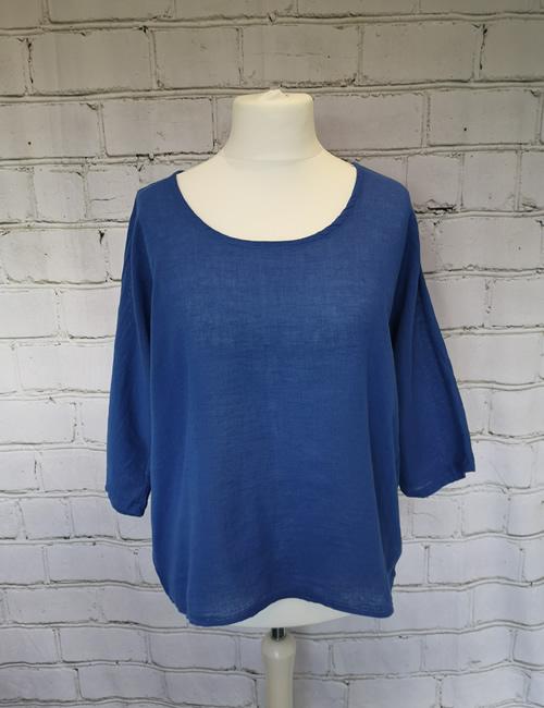 Colette - Linen Top - Royal Blue - Arm Down