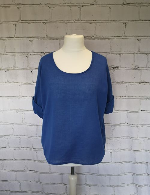 Colette - Linen Top - Royal Blue - Front