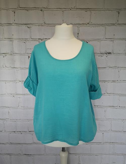 Colette - Linen Top - Turquoise