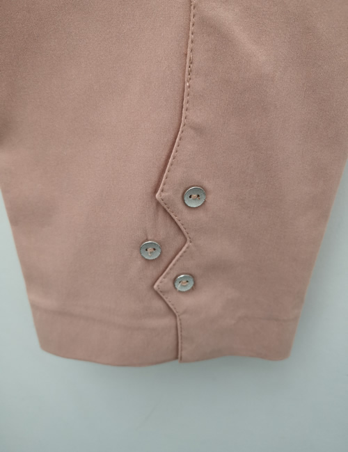 Ficelle - Crop Trouser with Buttons - Dusky Pink - Detail