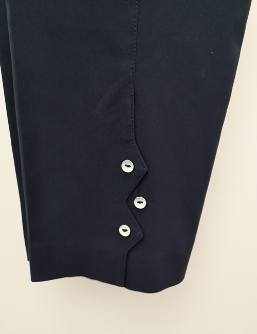 Ficelle - Crop Trouser with Buttons - Navy Blue - Detail