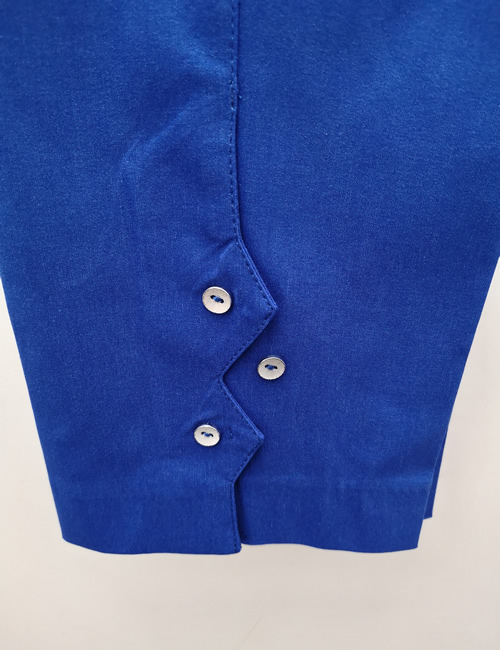 Ficelle - Crop Trouser with Buttons - Royal Blue - Detail
