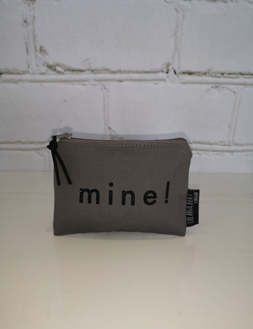Lola & Gilbert - Purse - Grey - Black Lettering - Front