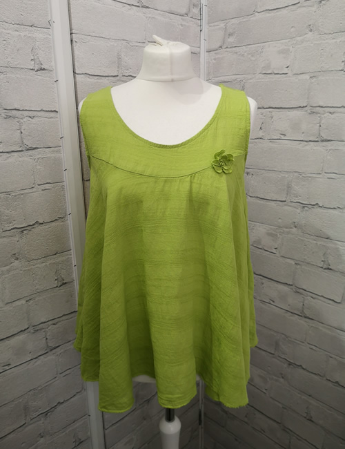 Made In Italy - Flower Top - Lime