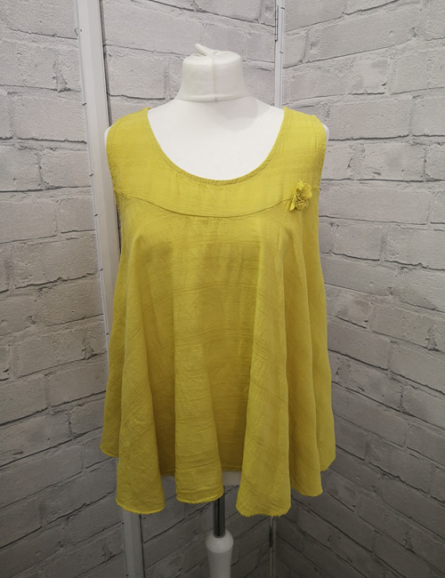 Made In Italy - Flower Top - Mustard