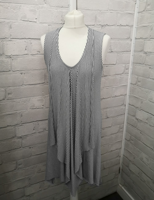 My Story - Flowing Front Striped Dress - Charcoal