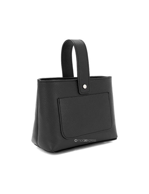 Moda - Leather Crossbody Bag with Handle - Black