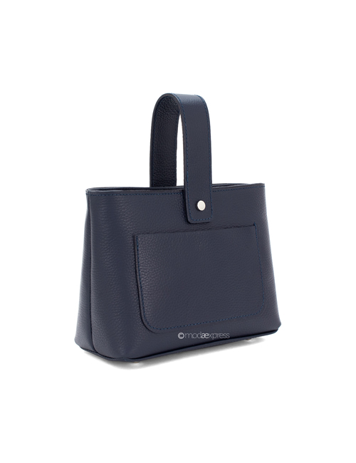 Moda - Leather Crossbody Bag with Handle - Navy Blue
