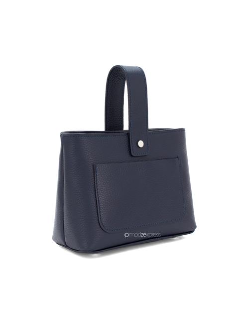Moda - Leather Crossbody Bag with Handle - Navy Blue