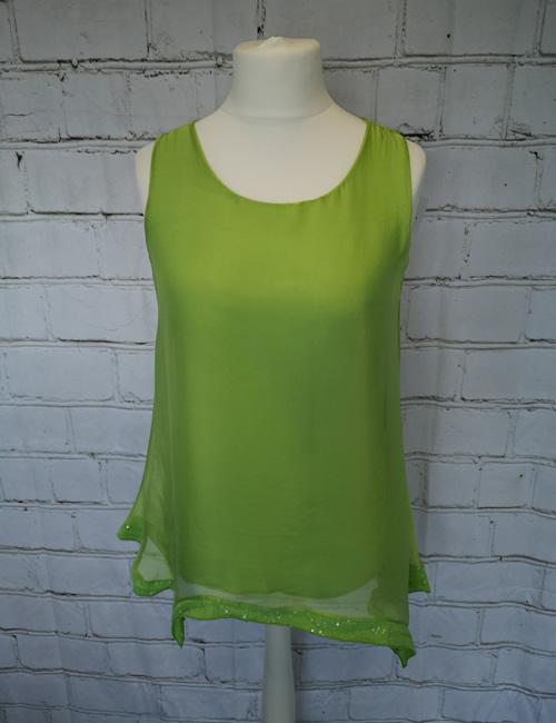My Story - Sequin Bottom - Vest - Lime Green