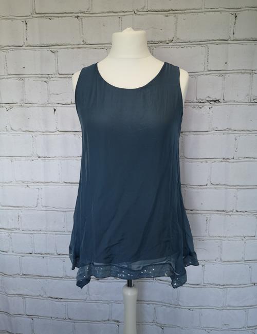My Story - Sequin Bottom - Vest - Steel Blue