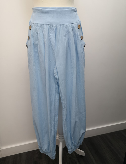 Nova - Button Pocket Harem Pants - Light Blue