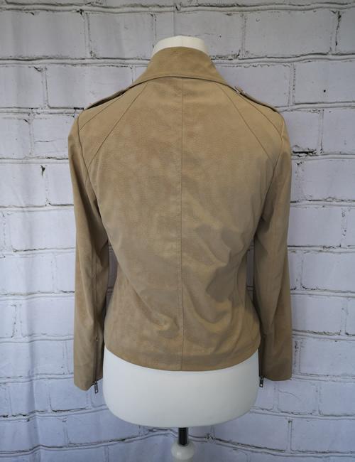 Escandelle - Faux Suede Jacket - Beige - Back